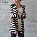 Outono 2016 Mulheres Jaqueta Fina Casacos de Algodão Do Vintage Magro Cabido Senhoras Cardigan Casual Outerwear Solto Plus Size Tops Listrados