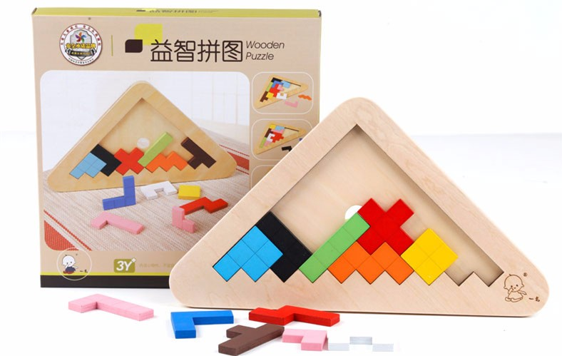 Montessori Toy Kids Wooden Puzzle Educational Toys Tangram/Jigsaw Puzzle Toys exercise IQ Parent-child games gift 4 kinds