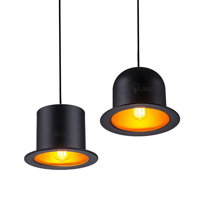 Creative Top Hat Led Pendant Light Aluminum Lampshade Hat Light Black Gold  D26cm*H18cm New