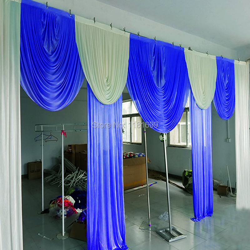 10x20ft white and royal blue Luxury and elegant 6 meter long wedding swags for wedding backdrop drapery event party decoration