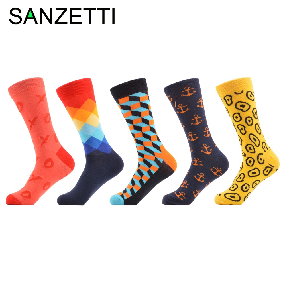 SANZETTI 5 pairs/lot Mens Colorful Combed Cotton Socks Funny Argyle Anchor Pattern Winter Casual Socks Wedding Gift US 7.5-12