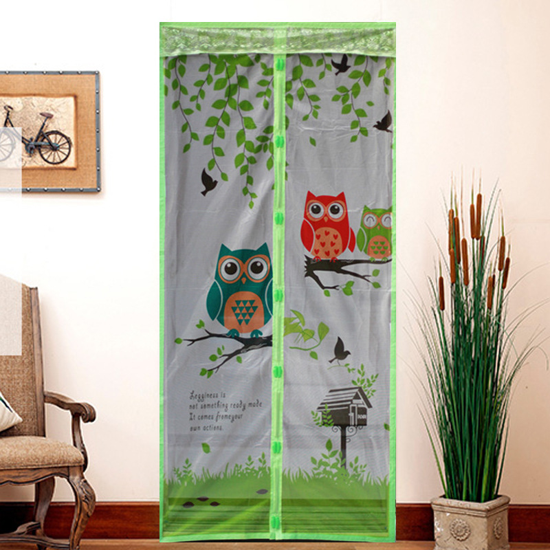 The new high-grade printing summer owl mosquito curtain magnetic soft screen door curtain buckle birds mute Salmonella