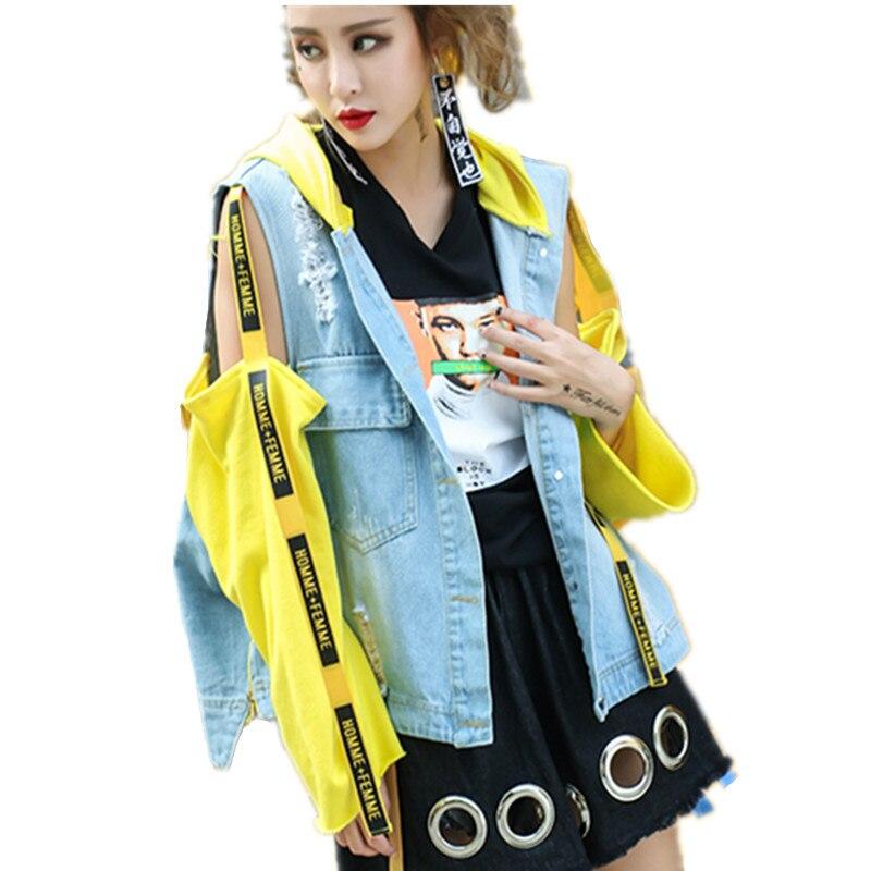 Lyl93 vent Printemps Dame Couture Femmes 2017 Jeans Capuchon Manteau Automne Denim As Occasionnel Veste De À Shown Coupe Lâche Base Mode gwfEqFUxnq