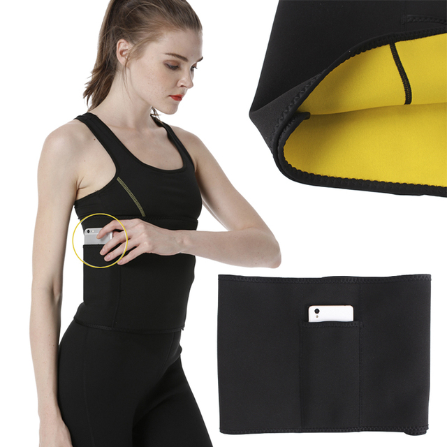 MAIJION Women&Men Adjustable Sport Running Vest With Pocket ,Hot Sweat Yoga Body Shapers Fat Burning Slimming Belt Waist Support 1
