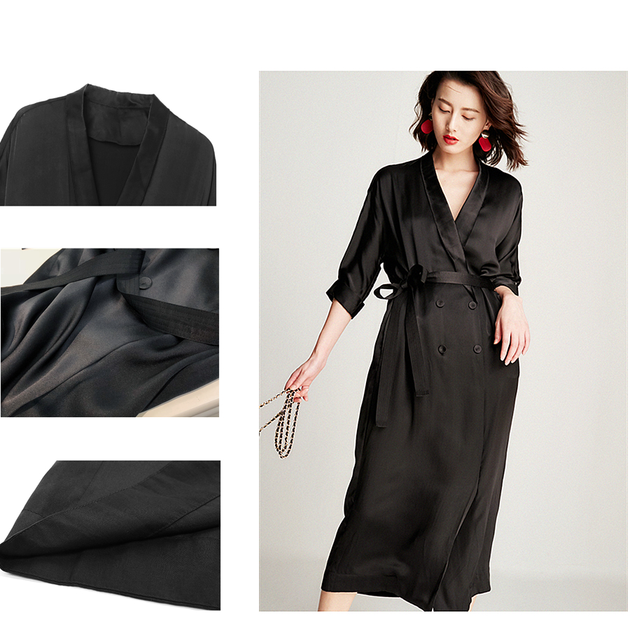 High-end Dress Women 100% Silk Elegant Style Shawl Neck Drop-Shoulder Half Sleeves Sashes Double-breasted Button Fashion 18 5