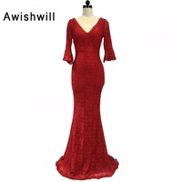 Red / Royal Blue / Black / White 3/4 Sleeves V Neck Long Mermaid Formal Evening Dresses Lace Prom Gown Open Back Robe De Soiree