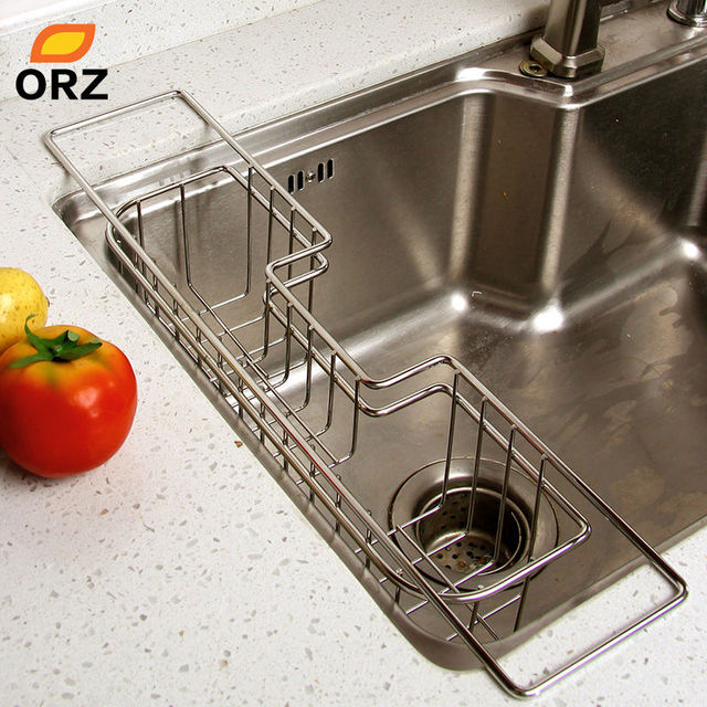 Orz Stainless Steel Kitchen Tray Dish Drainer Drying Rack Sink Holder Basket Knife Sponge Organizer