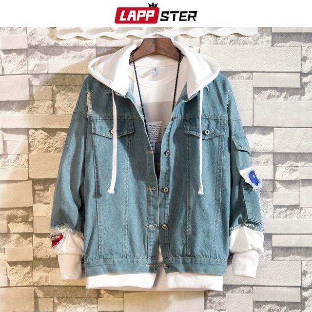 e3df219883555 LAPPSTER Blue Bomber Jackets 2019 Men Streetwear Denim Jacket Fake Two  Pieces Hip Hop Jeans Harajuku Hooded Windbreaker