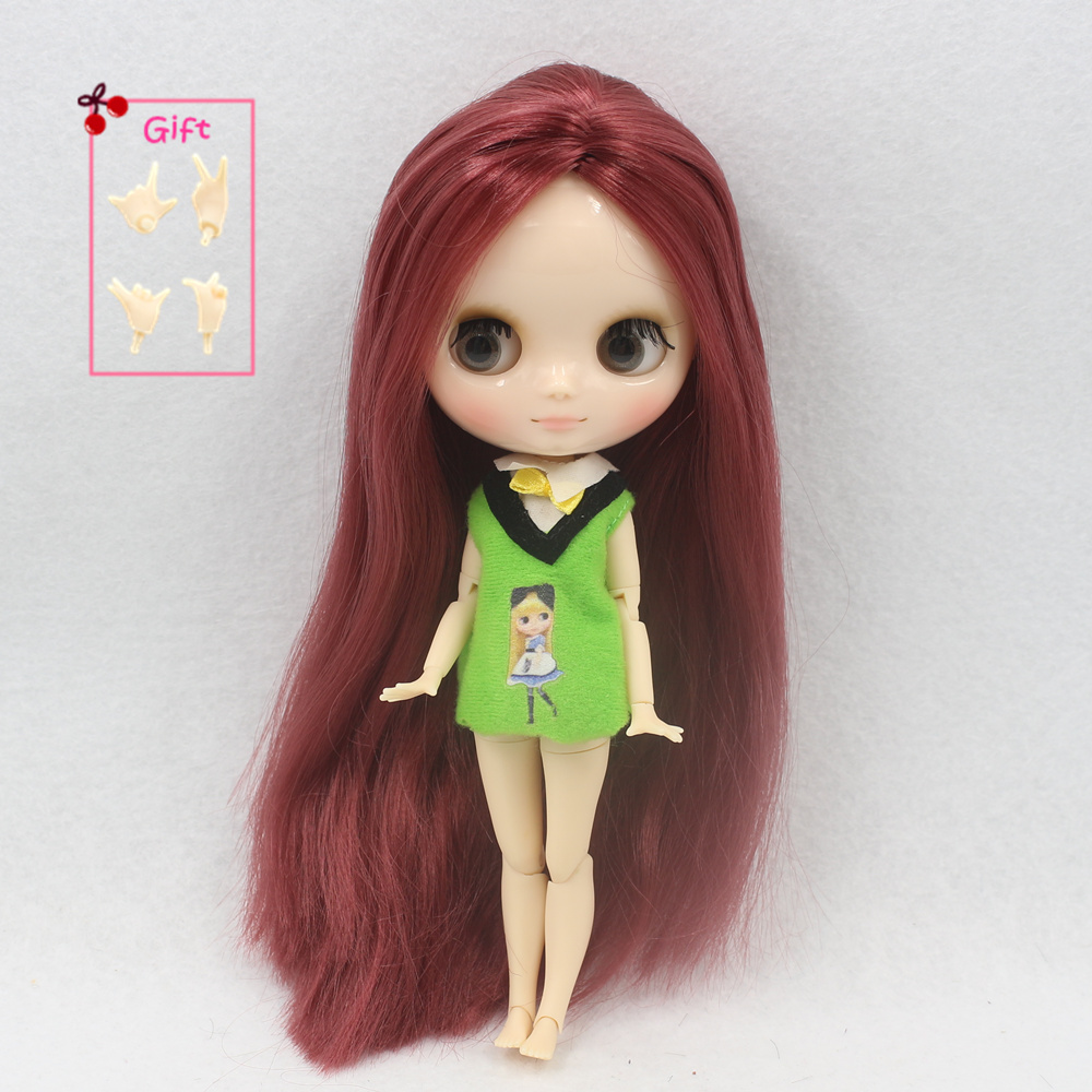 ICY Nude Factory Middie Blyth doll Series No 12532 Wine red hair Transparent face Neo BJD
