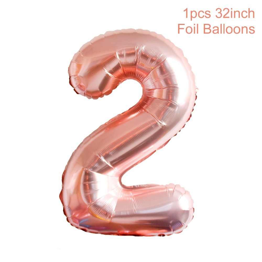 HUIRAN różowy drugi strój urodzinowy 2 lata dekoracje na przyjęcie urodzinowe dla dzieci dobrodziejstw księżniczka korona dziewczyna Baby Shower zaopatrzenie firm balony
