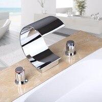 Três Peças Promoção Latão Polido Chrome Cachoeira Torneira Bacia Banheiro Quadrado Vanity Sink Toque Mixer