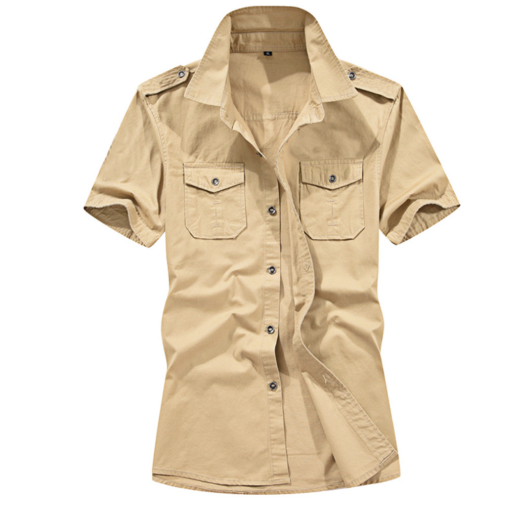 Shirt Men Casual Fashion Military Pure Color Pocket Short Sleeve Loose Tops Men's Clothes Large Size C0520
