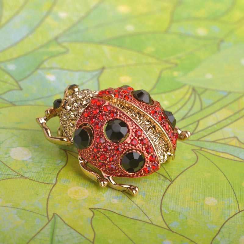FUNMOR Carino Red Ladybug Spilla di Cristallo Insetto Spille Per Le Donne I Bambini Pinze della Camicia del Cappotto Del Collare Accessori Smalto Corpetto Spilli