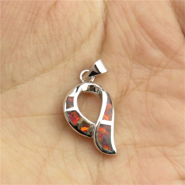 Free Shipping Y20891 1pcs  Charms Women Silver Tone Lucky Scarf Design Red Australian Opal Pendant Jewelry Findings
