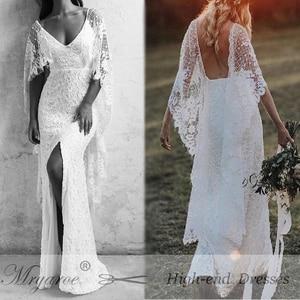 Image 5 - Mryarce nowe unikalne francuskie koronkowe suknie ślubne w stylu boho bez pleców przednia szczelina boho chic suknie ślubne z peleryną