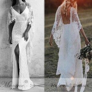 Image 5 - Mryarce חדש ייחודי צרפתית תחרה בוהמי חתונת שמלות גב הפתוח שפתוחה סדק Boho שיק כלה שמלות עם קייפ