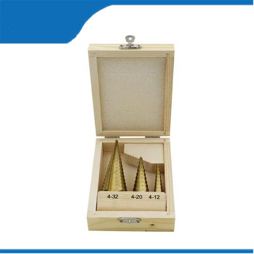 Free shipping Large Step Cone HSS Steel Spiral Grooved Step Drill Bit Hole Cutter Cut Tool 4-12/20/32mm with Wood Box 3pcs/Set mini pocket hole drill jig slant hole jig locator guide kit woodworking power hand tools 9mm step drill bit sets dowel wood jig