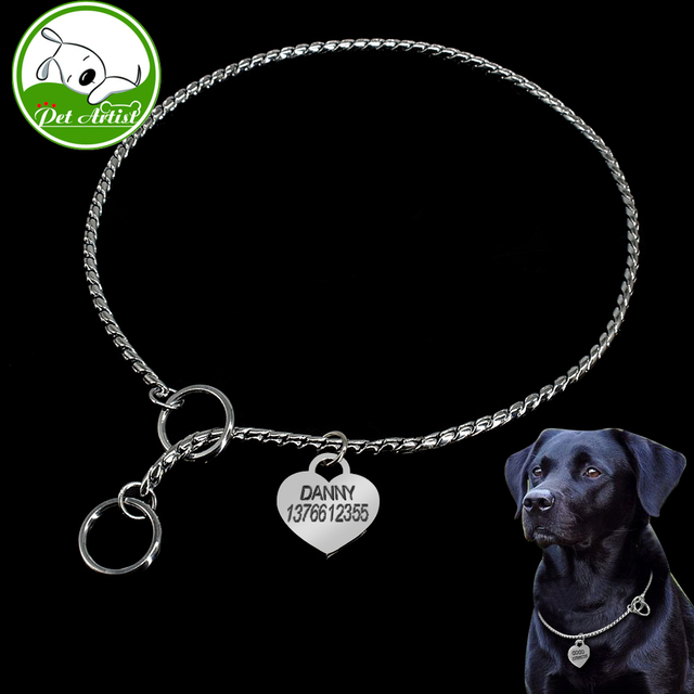Stainless Steel Dog Collar Choker Snake Chain Pets Training Collars Pitbull Free Engraved Pet Id Tag