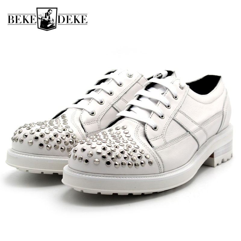 New Handmade Luxury Men Shoes Genuine Leather Thick Platform White Mens Shoes Casual Lace Up Rivet Footwear Man Mid Heel 3-5CMNew Handmade Luxury Men Shoes Genuine Leather Thick Platform White Mens Shoes Casual Lace Up Rivet Footwear Man Mid Heel 3-5CM