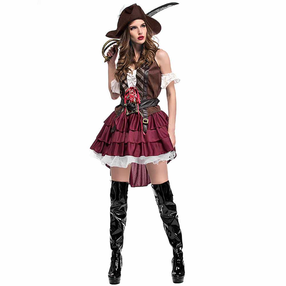 Для женщин пираты костюмы карибских пиратов женский пират косплэй для Хеллоуин костюм