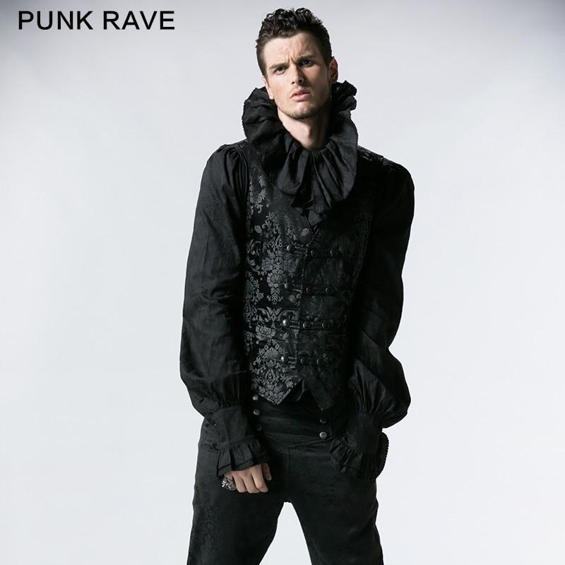 Punk Rave Gothique Palais Imprimé Gilet Col V Chaleco Hombre Gilet Hommes  Rayé Erkek Yelek Y-452 e5ae8f9b6be