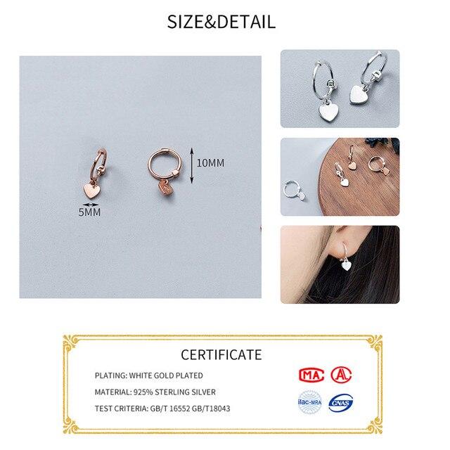925 Sterling Silver Heart Exquisite Hoop Earrings  1