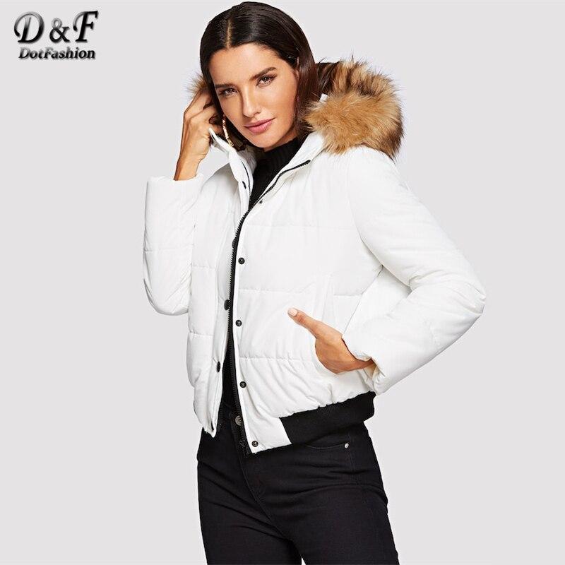 Dotfashion белый фугу пальто с искусственной меховая отделка капюшон Женская Зимняя мода 2018 костюмы повседневное стеганые пальто для будущих ма...