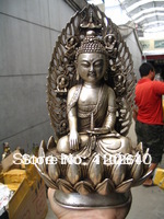 Bouddha Lotus 20 cm et quatre Statues en argent diamantBouddha Lotus 20 cm et quatre Statues en argent diamant