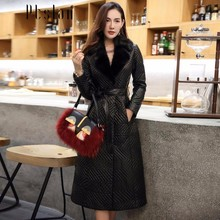 Ptslan Women'S Genuine Leather Winter Coat With Real Mink Fur Collar Female Natural Sheepskin Coat With Belt Luxury Good Quality