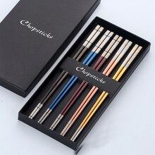 5 쌍 스시 일본 스테인레스 스틸 Acciaio 젓가락 선물 상자 세트 블랙 중국어 Chop 스틱 식기 주방 도구
