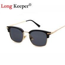 Long keeper cuadrado diseñador de la marca gafas de sol mujeres semi sin rebordes gafas de sol para hombre mujer eyewares gafas de sol hombre
