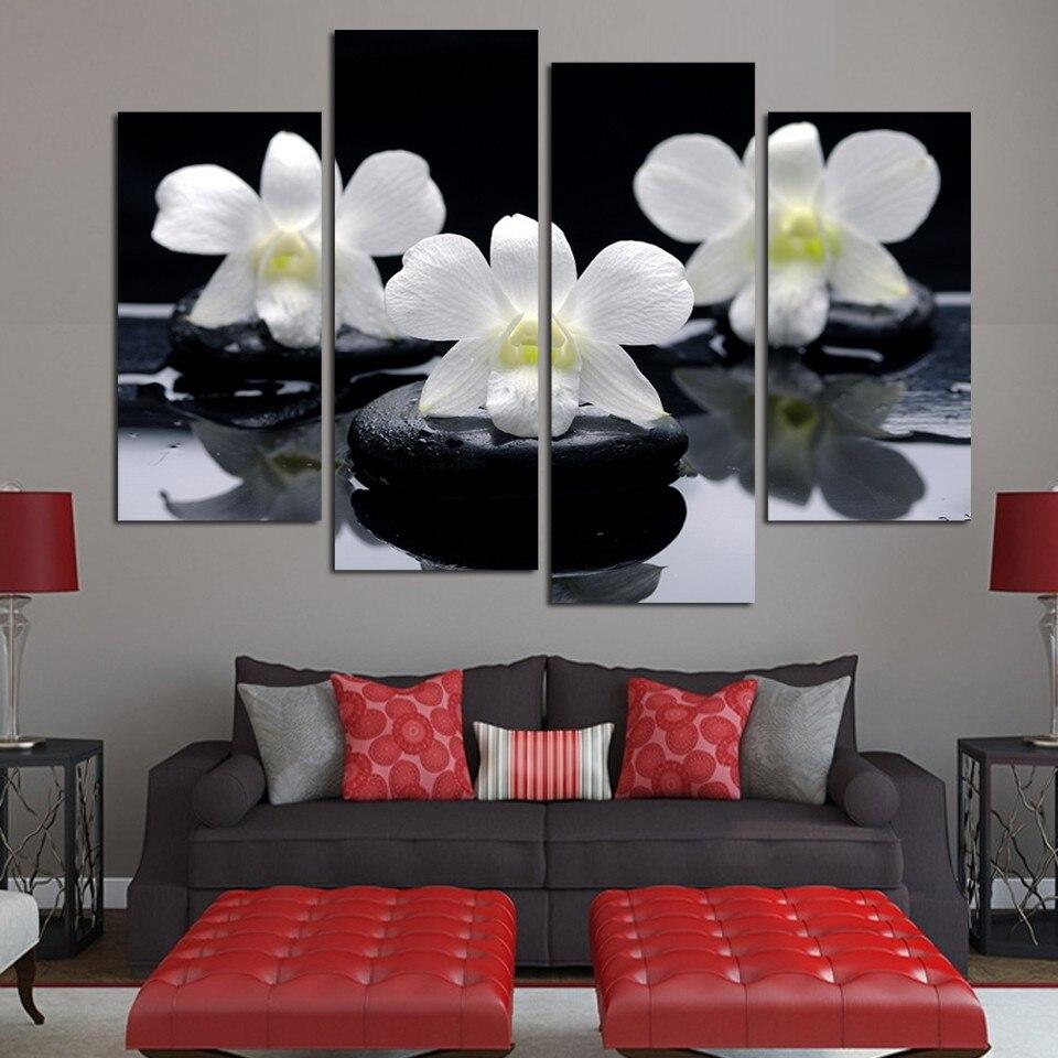 Moderne Wand Poster Leinwand Kunst Wohnkultur Wohnzimmer Schlafzimmer 4  Stücke Schwarz Pebble White Orchid Blumen Modulare Malerei Rahmen