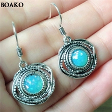 Tibetan style Vintage Silver Earrings Jewelry Synthetic Turquoises Round Dangle Drop Charm for Women A35