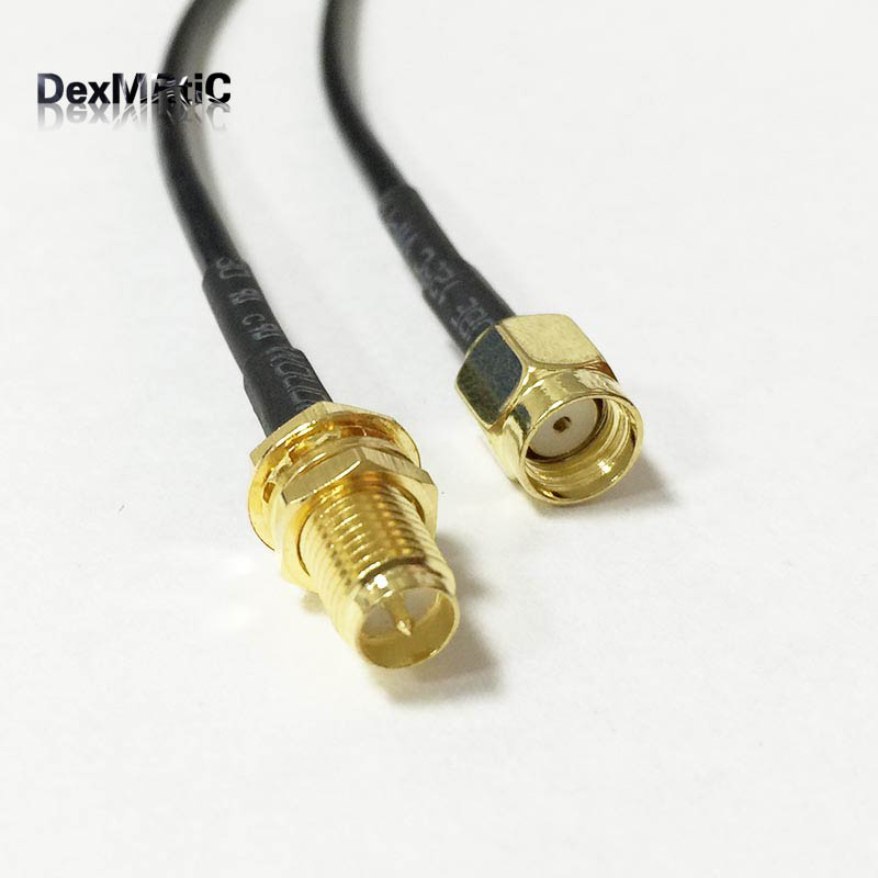 1PC WIFI router cable RP-SMA Female Jack nut To RP-SMA Male Plug RG174 30cm/50cm/100cm Wholesale Fast Ship allishop sma male plug to rp sma female jack coaxial pigtail cable adapter connector 20m rg174