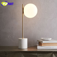 FUMAT Nordic Table Lamp Modern Creative Glass Table Light Living Room Study Bedside Light Hotel Gold Stand Desk Lamp H57.5cm