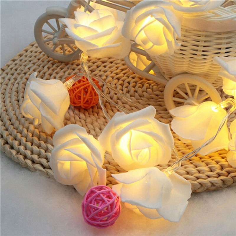5m 10m 20m 30m 50m 6cm Rose LED String Fairy Holiday LIGHTs Gerlyanda CHRISTMAS Lights Outdoor Garland PARTY WEDDING Decorations