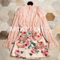 Svoryxiu Designer Brands Early Autumn Silk Blouse Women's Vintage Lace Patchwork Perspective Pink Blouses Shirts
