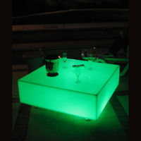 Skybess SK LF23M L60 W60 H13cm Rechargeable LED Furniture Bar Table PE Material Square Table For