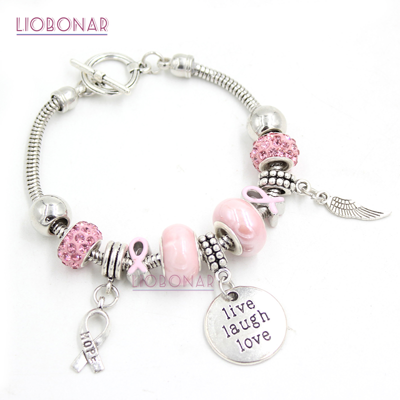 6 silver plated Lt Pink Crystal Breast Cancer Awareness charms Beads supplies