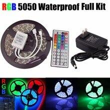 цена на 5050 RGB LED Strip Non-Waterproof / Waterproof 5M 300 Led Strip Light Fita Led String + 44 Key IR Remote + DC 12V 3A Power Kit