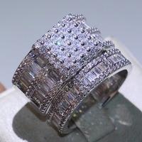 Размеры 5–10 Ретро Модные украшения 925 пробы серебряные кольца пара Принцесса Cut Белый Полный CZ вечерние Для женщин свадебные кольца