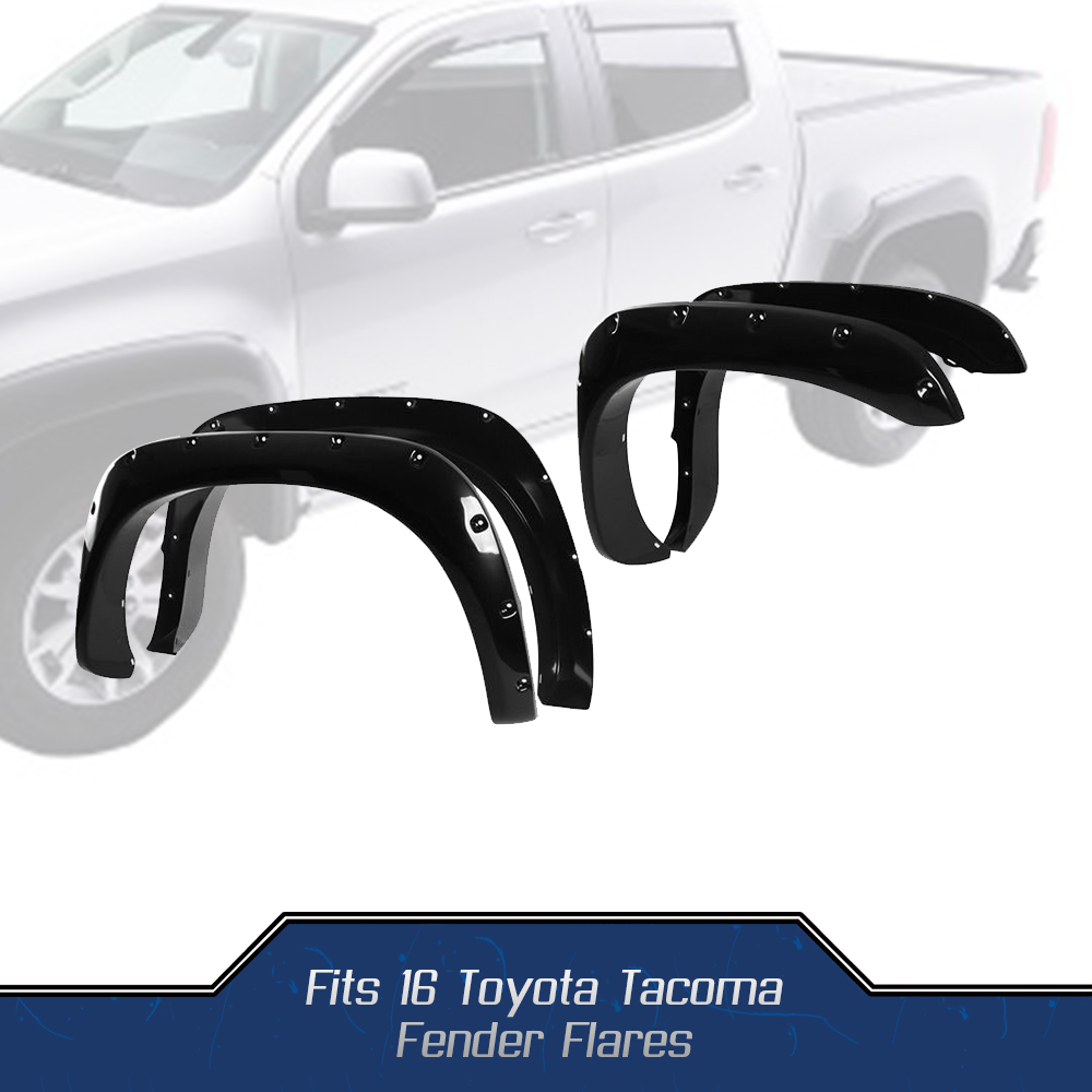 4pc Set Fender Flares For 2016 2017 Toyota Tacoma Pocket Riveted 2004 Bolt Black Smooth Finish Car Wheel Mudguard Cover Protector In Chassis Components From