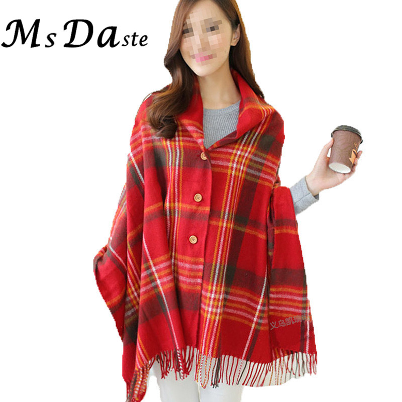2017 New Plaid Shawl Print Vintage Knitwear Women Sweater Tops Batwing  Sleeve Plus Size Shawl Cape - Popular Red Plaid Cardigan-Buy Cheap Red Plaid Cardigan Lots From