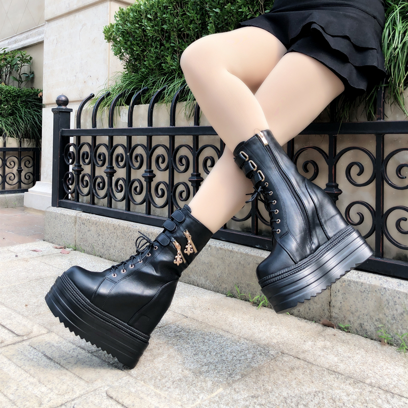 2018 new women s boots increased waterproof platform thick soled boots ultra high with velvet muffin