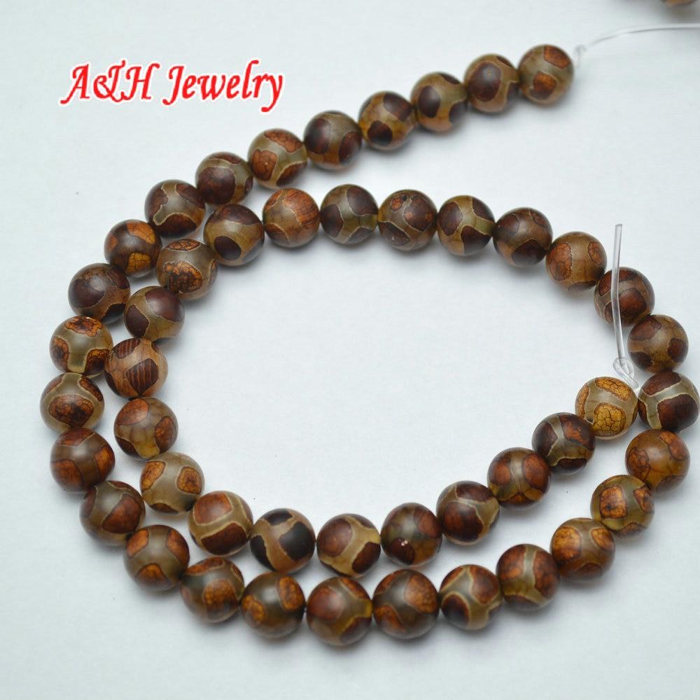 5 шт. древних коричневый Цвет специальный вен 6 ~ 8 мм дзи с камнями свободные Бусины модные тибетского ювелирное материалы