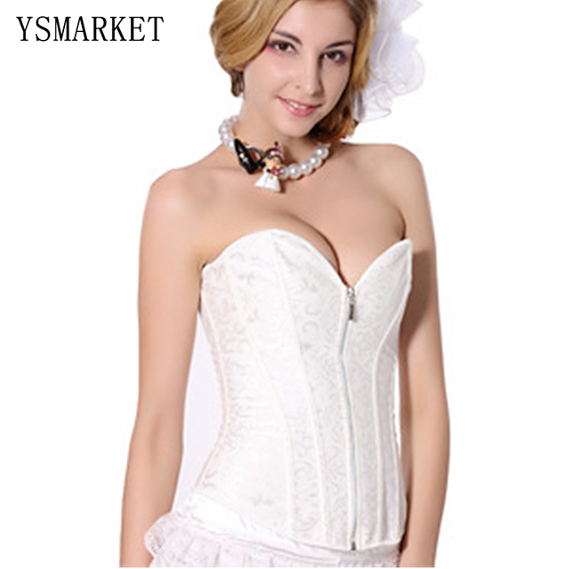 New 2017 Fashion Sexy Modern Bride White Lace Corset Women's Waist Cincher Bustier Lolita Style Slim Fit Sweet Corselet S21224