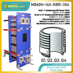 75KW heat transfer between water to water removable PHE is great choice for water cold storage air conditioners for telecom room