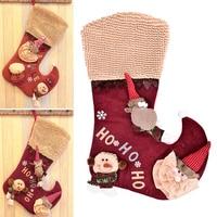 Christmas Stocking Santa Claus Sock Gift Bag Kids Xmas Decoration Candy Bag Bauble Xtmas Tree Ornament
