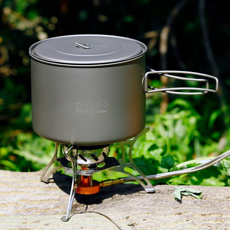 TOAKS 1.6L ポットチタン調理器具調理ピクニック屋外キャンプチタン鍋セットポータブル調理器具折りたたみハンドル  グループ上の ホーム&ガーデン からの 調理器具セット の中 1
