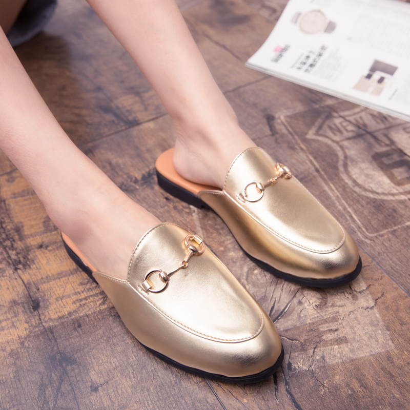 Men Backless dress leather slipper shoes Men unisex Bee prints Horseshoe buckle Casual business wedding Leather shoes women 4
